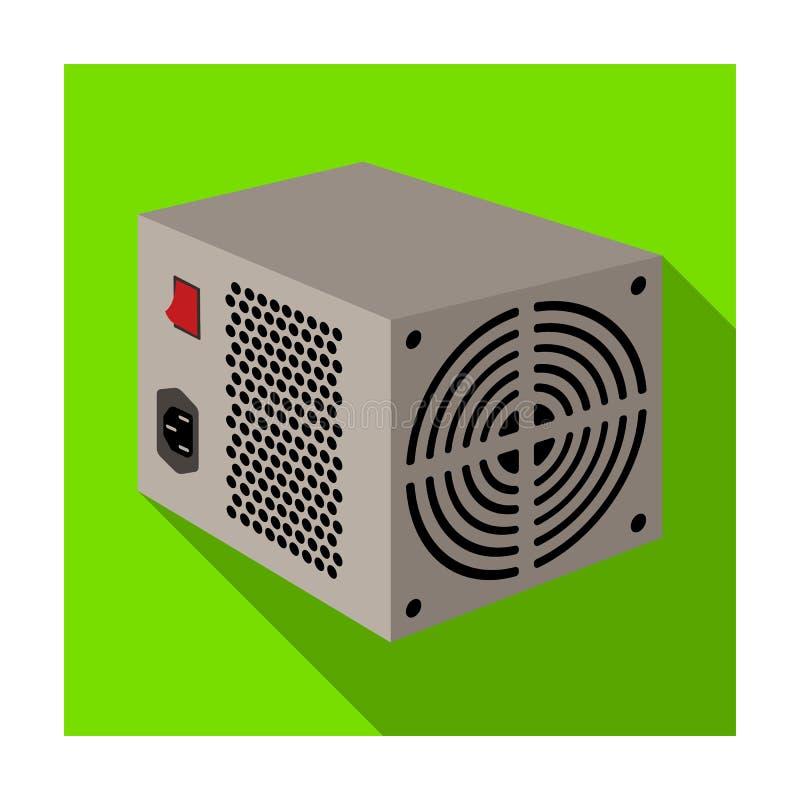 Значок блока электропитания в плоском стиле изолированный на белой предпосылке Вектор запаса символа аксессуаров персонального ко иллюстрация штока