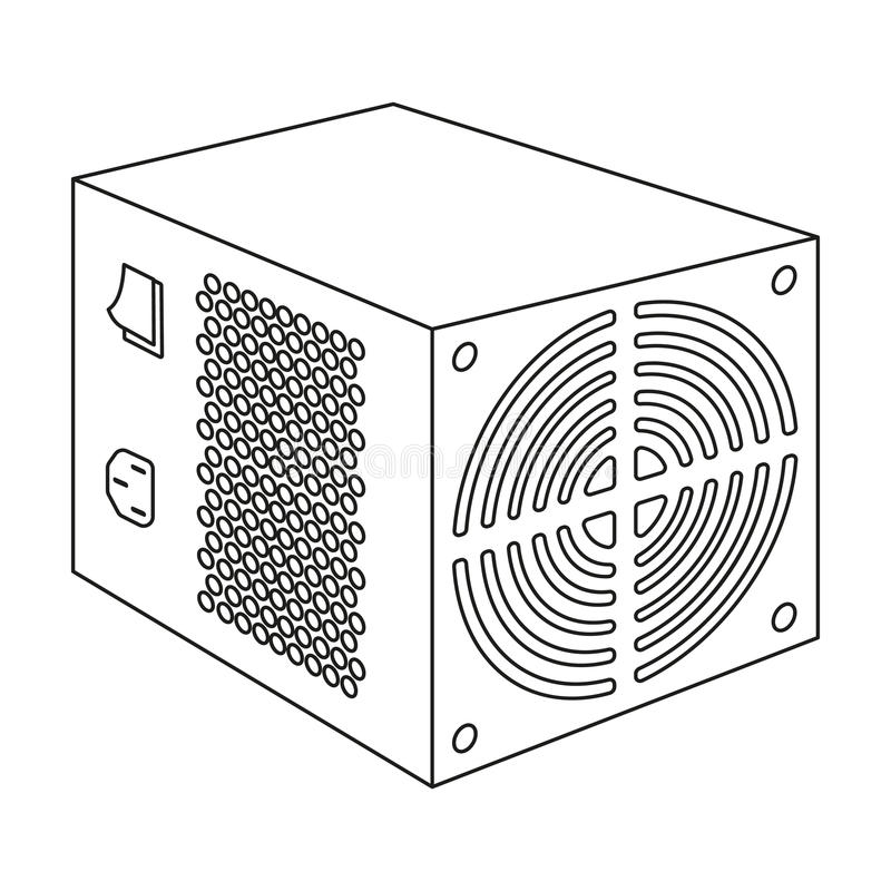 Значок блока электропитания в стиле плана изолированный на белой предпосылке Вектор запаса символа аксессуаров персонального комп бесплатная иллюстрация