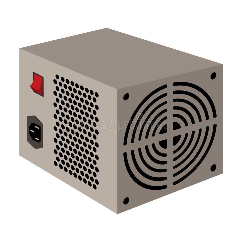 Значок блока электропитания в стиле шаржа изолированный на белой предпосылке Вектор запаса символа аксессуаров персонального комп иллюстрация штока