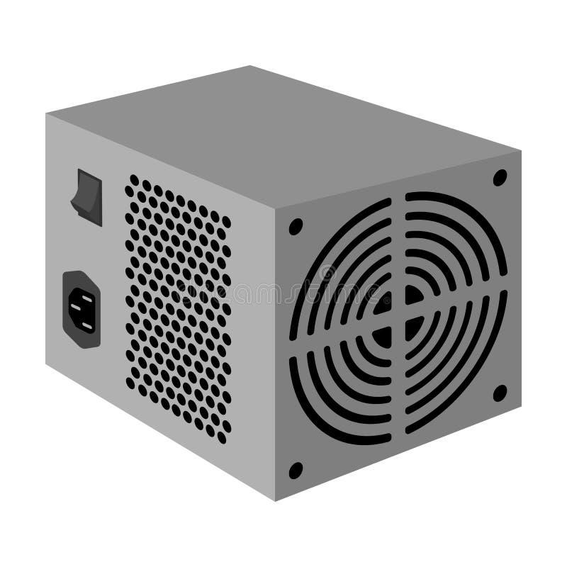 Значок блока электропитания в monochrome стиле изолированный на белой предпосылке Запас символа аксессуаров персонального компьют иллюстрация вектора