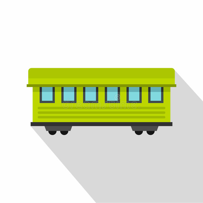 Значок вагона пассажира, плоский стиль иллюстрация вектора