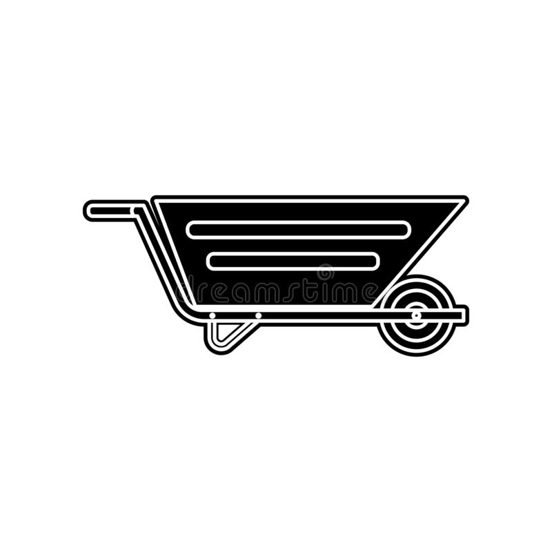 значок вагонетки здания Элемент домашнего инструмента ремонта для мобильных концепции и значка приложений сети Глиф, плоский знач иллюстрация штока