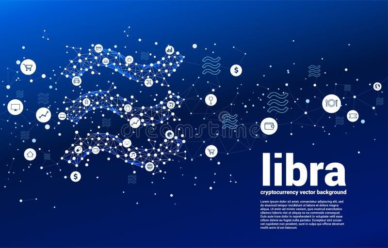 Значок валюты libra вектора цифровой от точки полигона соединяет линию Концепция для технологии cryptocurrency и финансовой сети бесплатная иллюстрация
