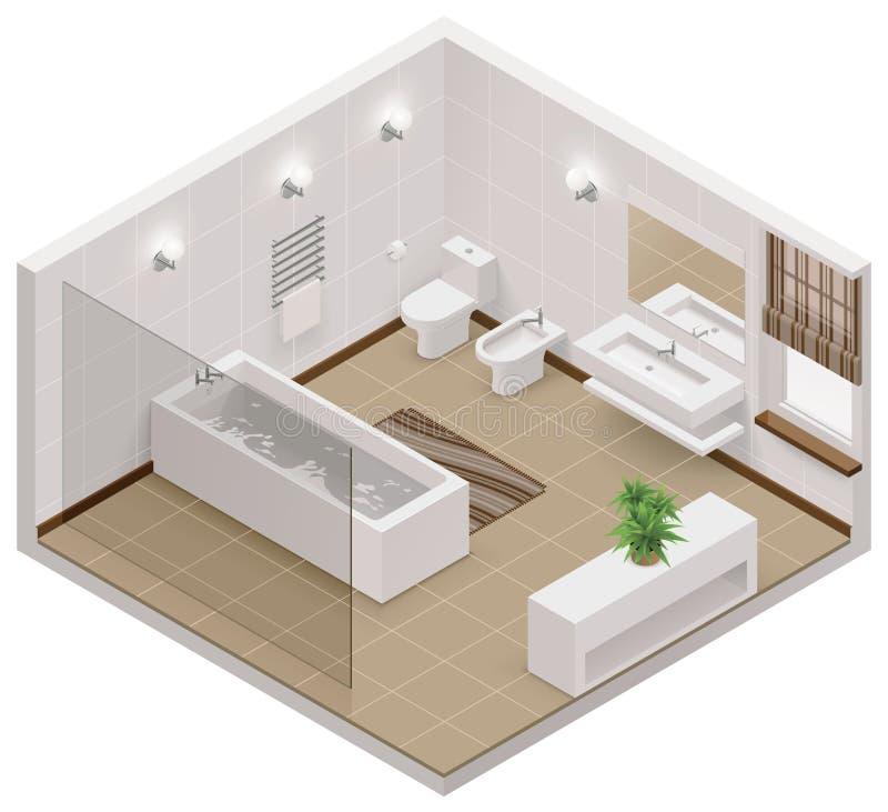 Значок ванной комнаты вектора равновеликий иллюстрация вектора