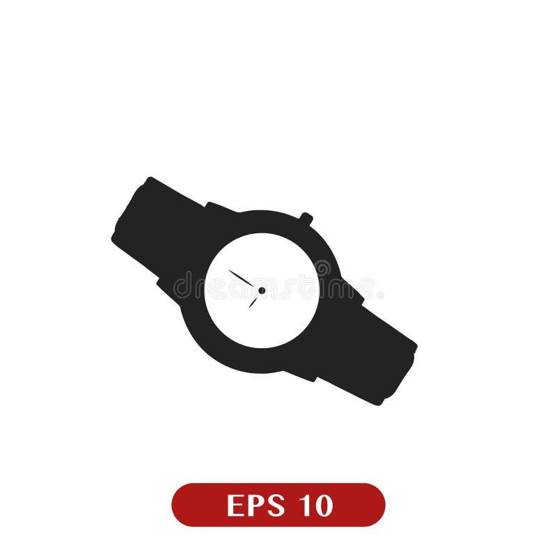 Значок вахты изолированный на белизне Роскошный человек наблюдает значок Классические часы хронографа запястья руки Механически р бесплатная иллюстрация