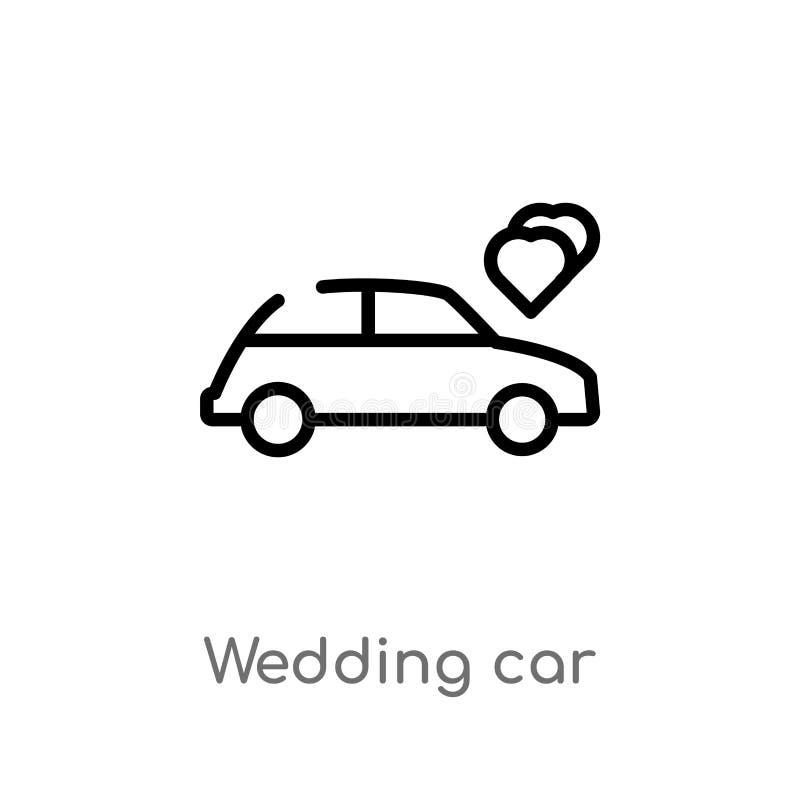 значок вектора автомобиля свадьбы плана изолированная черная простая линия иллюстрация элемента от концепции дня рождения и свадь иллюстрация вектора