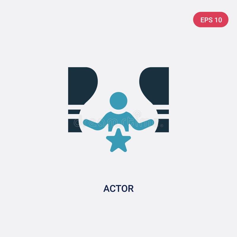 Значок вектора актера 2 цветов от концепции навыков людей изолированный голубой символ знака вектора актера может быть пользой дл иллюстрация вектора