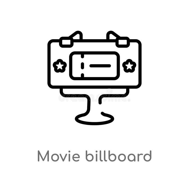 значок вектора афиши фильма плана изолированная черная простая линия иллюстрация элемента от концепции кино Editable ход вектора бесплатная иллюстрация