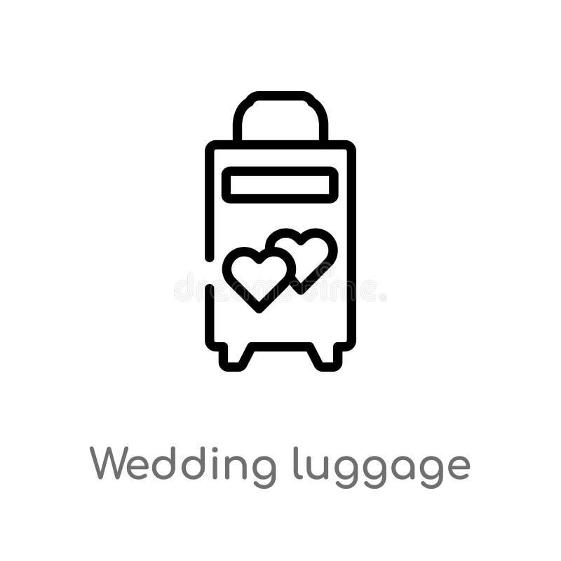 значок вектора багажа свадьбы плана изолированная черная простая линия иллюстрация элемента от концепции дня рождения и свадьбы бесплатная иллюстрация
