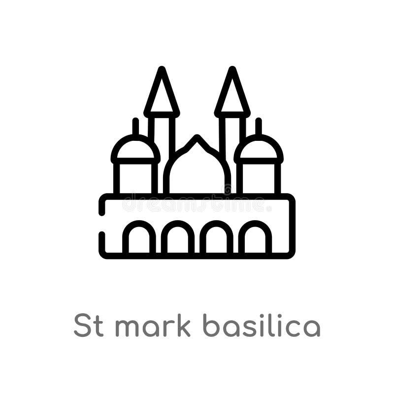 значок вектора базилики St Mark плана изолированная черная простая линия иллюстрация элемента от концепции памятников r иллюстрация штока