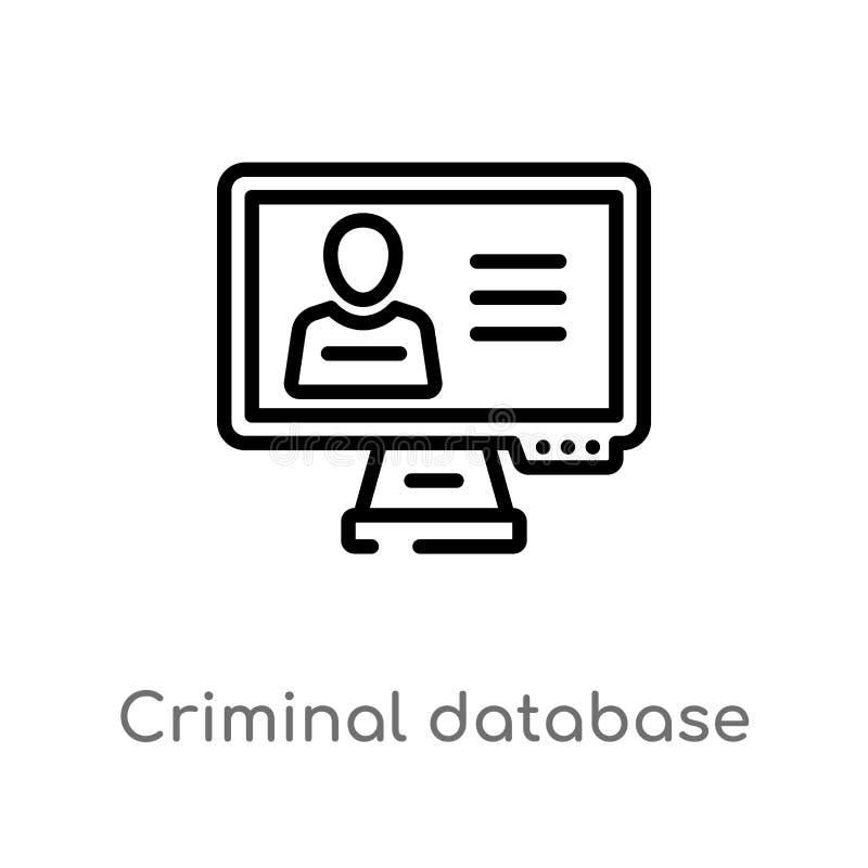 значок вектора базы данных плана уголовный изолированная черная простая линия иллюстрация элемента от концепции закона и правосуд иллюстрация штока