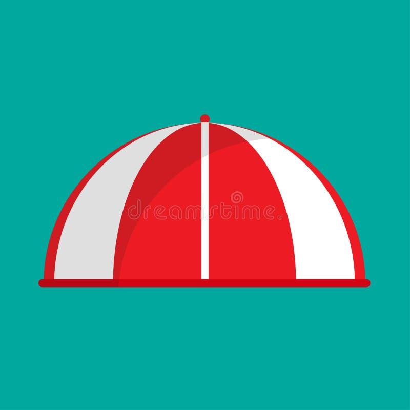 Значок вектора бакалеи нашивки тента красный Сень винтажного рынка бутика передняя Плоский парасоль крыши навеса фасада иллюстрация штока