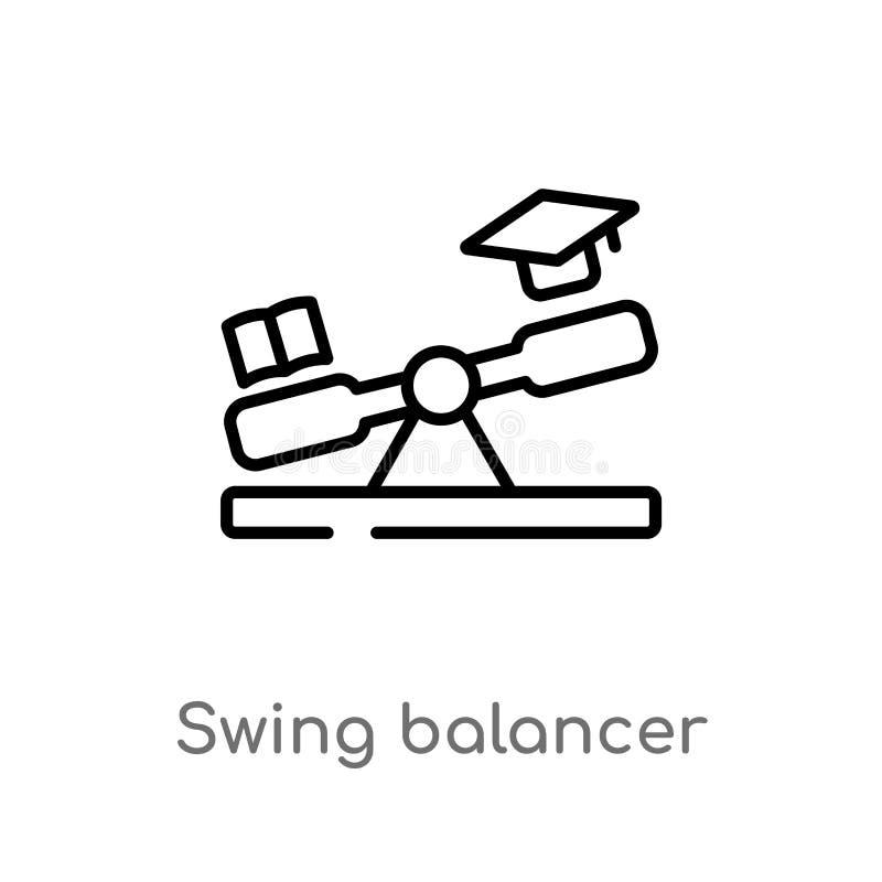 значок вектора балансера качания плана изолированная черная простая линия иллюстрация элемента от концепции образования o иллюстрация штока