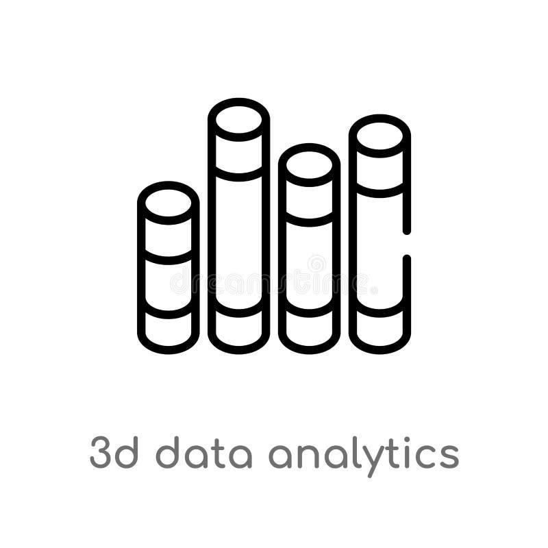 значок вектора баров аналитика данным по плана 3d графический изолированная черная простая линия иллюстрация элемента от концепци бесплатная иллюстрация