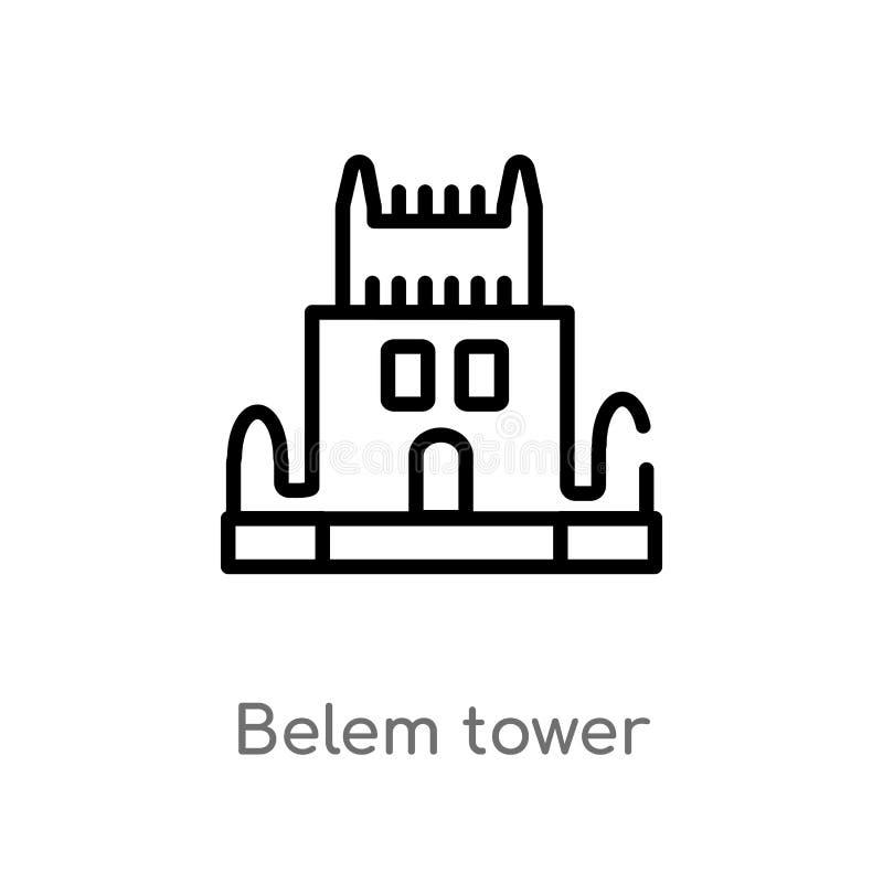 значок вектора башни belem плана изолированная черная простая линия иллюстрация элемента от концепции памятников Editable ход век иллюстрация вектора