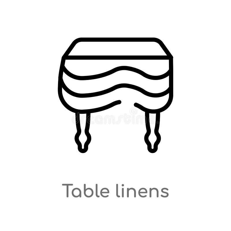 значок вектора белья таблицы плана изолированная черная простая линия иллюстрация элемента от концепции мебели и домочадца editab иллюстрация вектора