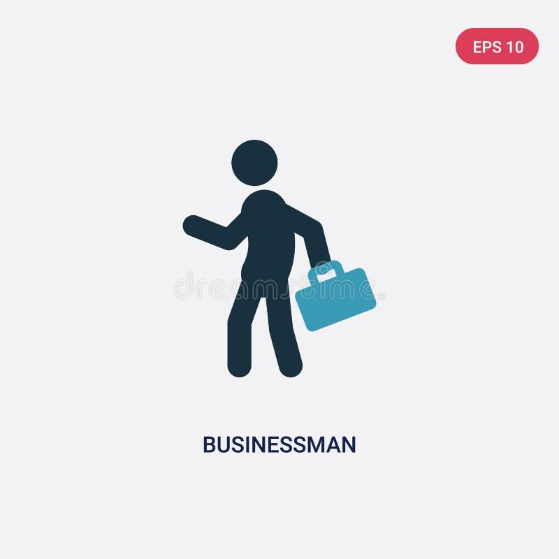 Значок вектора бизнесмена 2 цветов от концепции стратегии изолированный голубой символ знака вектора бизнесмена может быть пользо иллюстрация штока