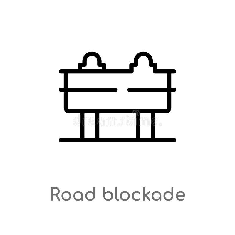 значок вектора блокады дороги плана изолированная черная простая линия иллюстрация элемента от бдительной концепции editable доро иллюстрация вектора