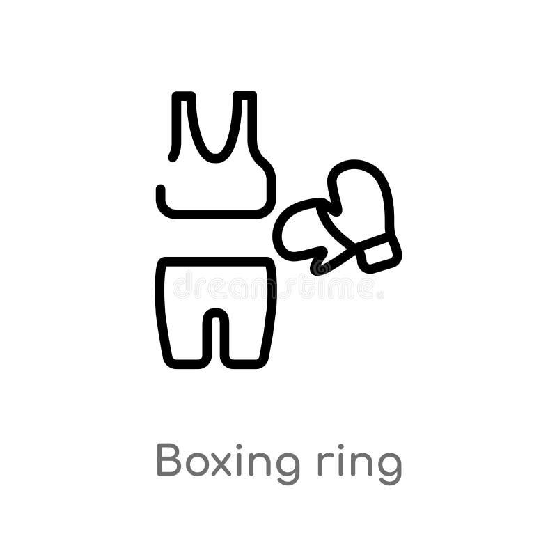 значок вектора боксерского ринга плана изолированная черная простая линия иллюстрация элемента от концепции моды editable ход век иллюстрация штока