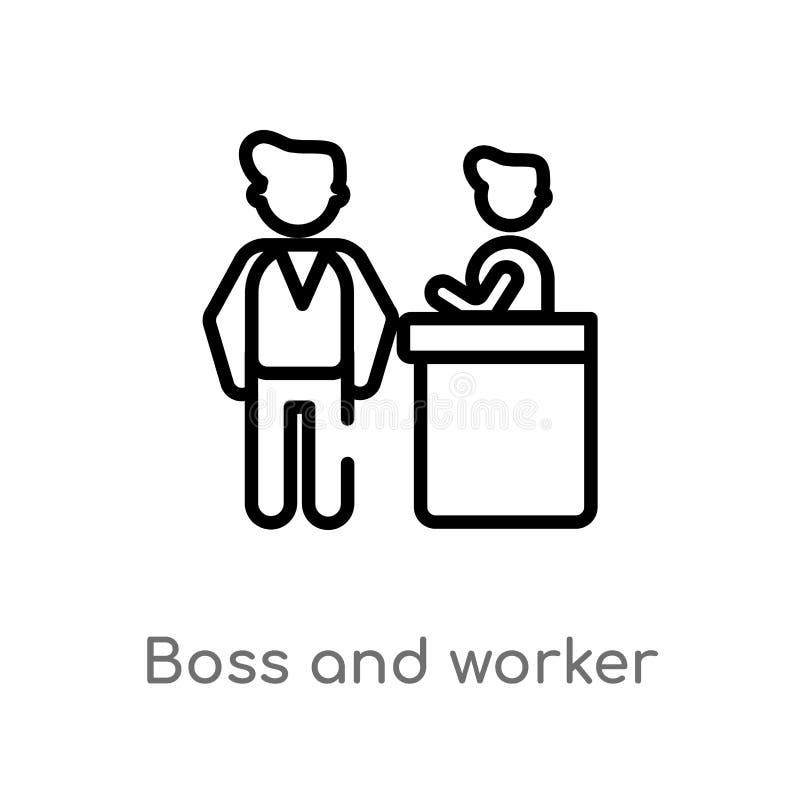 значок вектора босса и работника плана изолированная черная простая линия иллюстрация элемента от концепции людей Editable ход ве иллюстрация вектора