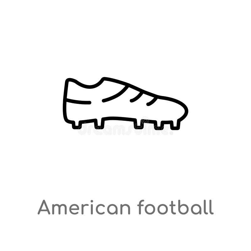 значок вектора ботинка американского футбола плана черный изолированная черная простая линия иллюстрация элемента от концепции ам иллюстрация штока