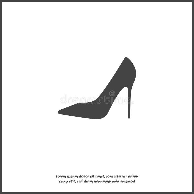 Значок вектора ботинка Ботинки женщин высоко-накрененные на белой изолированной предпосылке Слои собранные для легкой редактируя  бесплатная иллюстрация