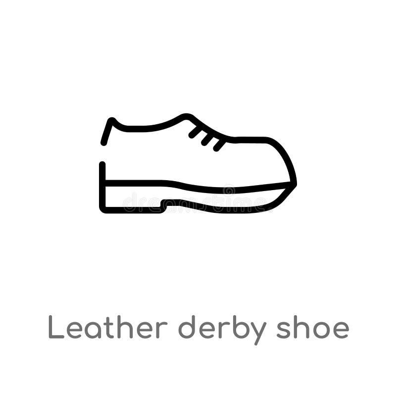 значок вектора ботинка Дерби плана кожаный изолированная черная простая линия иллюстрация элемента от концепции одежд r иллюстрация вектора