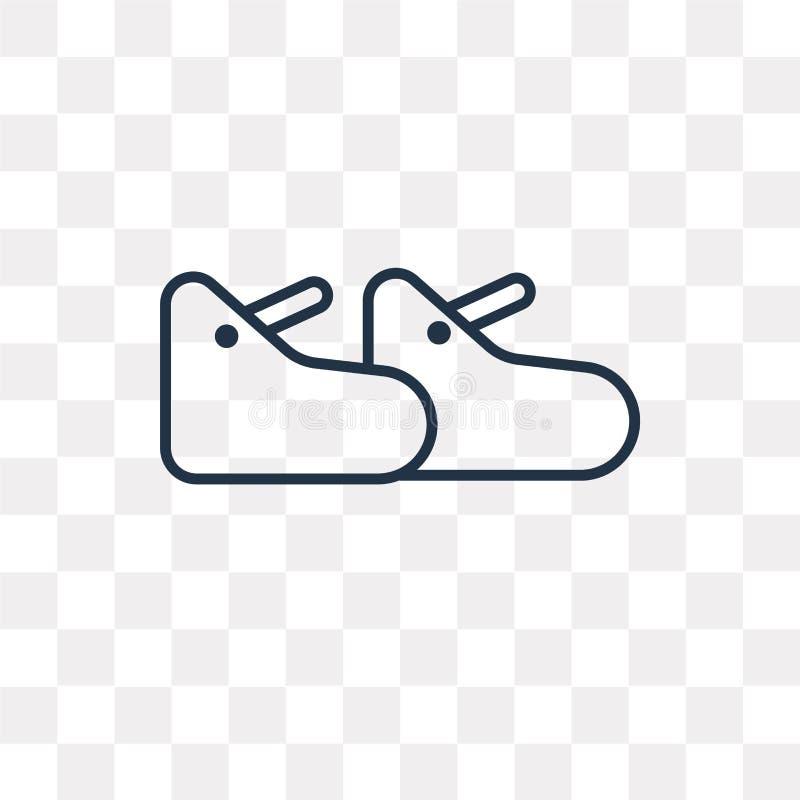 Значок вектора ботинка изолированный на прозрачной предпосылке, линейном ботинке иллюстрация штока