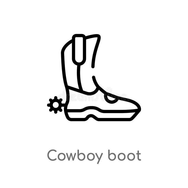 значок вектора ботинка ковбоя плана изолированная черная простая линия иллюстрация элемента от концепции пустыни editable ход век иллюстрация штока