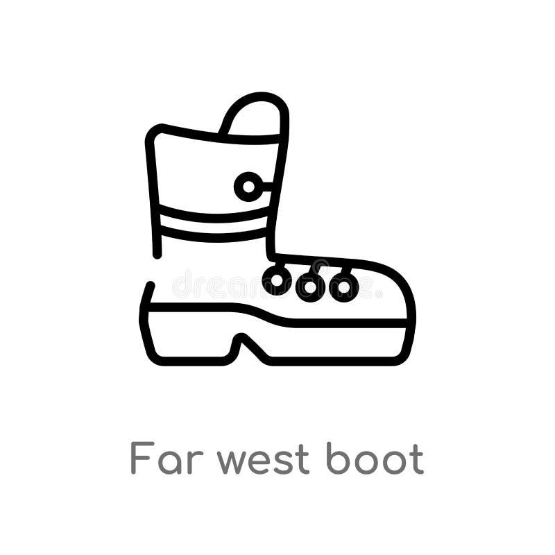значок вектора ботинка плана значительно западный изолированная черная простая линия иллюстрация элемента от концепции пустыни ed иллюстрация вектора