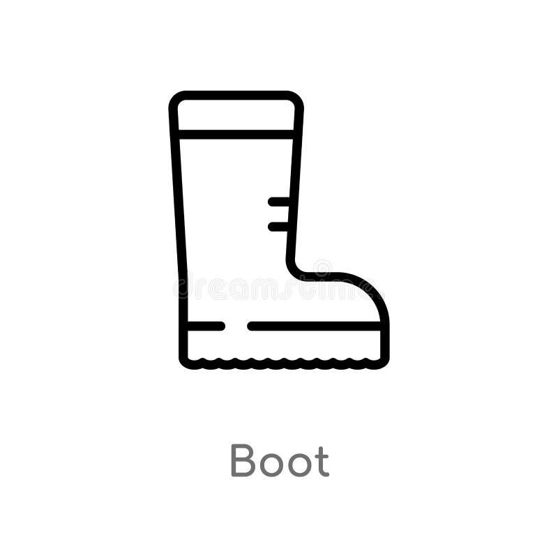 значок вектора ботинка плана изолированная черная простая линия иллюстрация элемента от располагаясь лагерем концепции editable з иллюстрация вектора