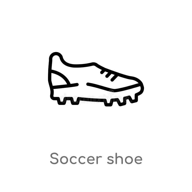 значок вектора ботинка футбола плана изолированная черная простая линия иллюстрация элемента от концепции одежд editable ход вект иллюстрация штока