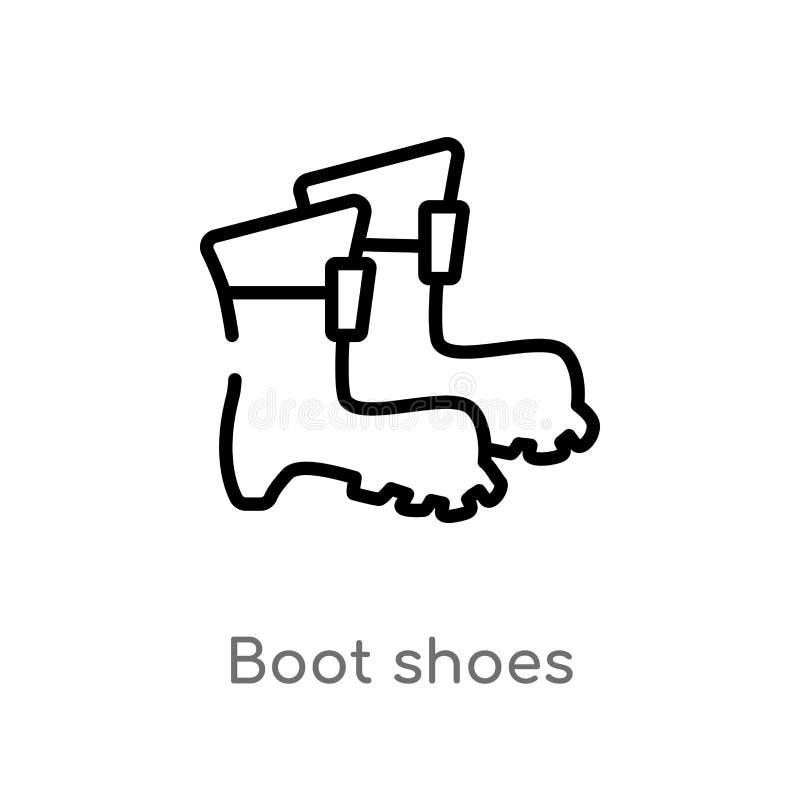 значок вектора ботинок ботинка плана изолированная черная простая линия иллюстрация элемента от обрабатывать землю концепция edit иллюстрация штока