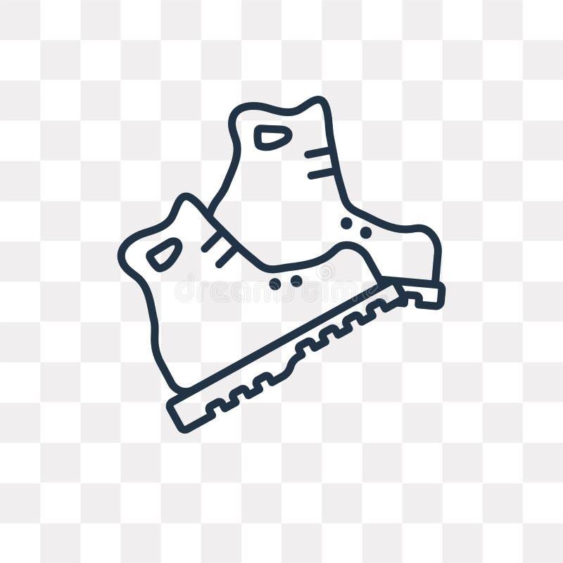 Значок вектора ботинок изолированный на прозрачной предпосылке, линейном шиканье иллюстрация вектора