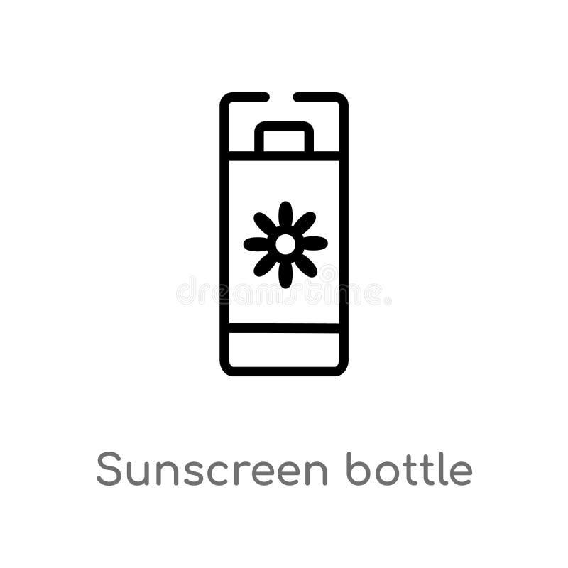 значок вектора бутылки солнцезащитного крема плана изолированная черная простая линия иллюстрация элемента от концепции празднико иллюстрация вектора