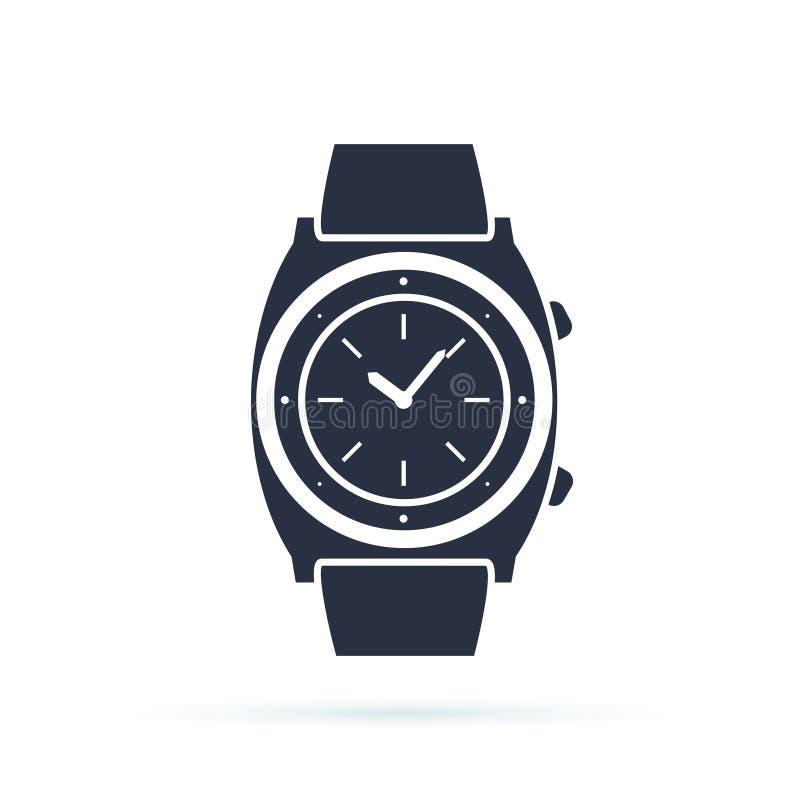 Значок вектора вахты изолированный на белизне Роскошный человек наблюдает значок Классические часы хронографа запястья руки Механ бесплатная иллюстрация