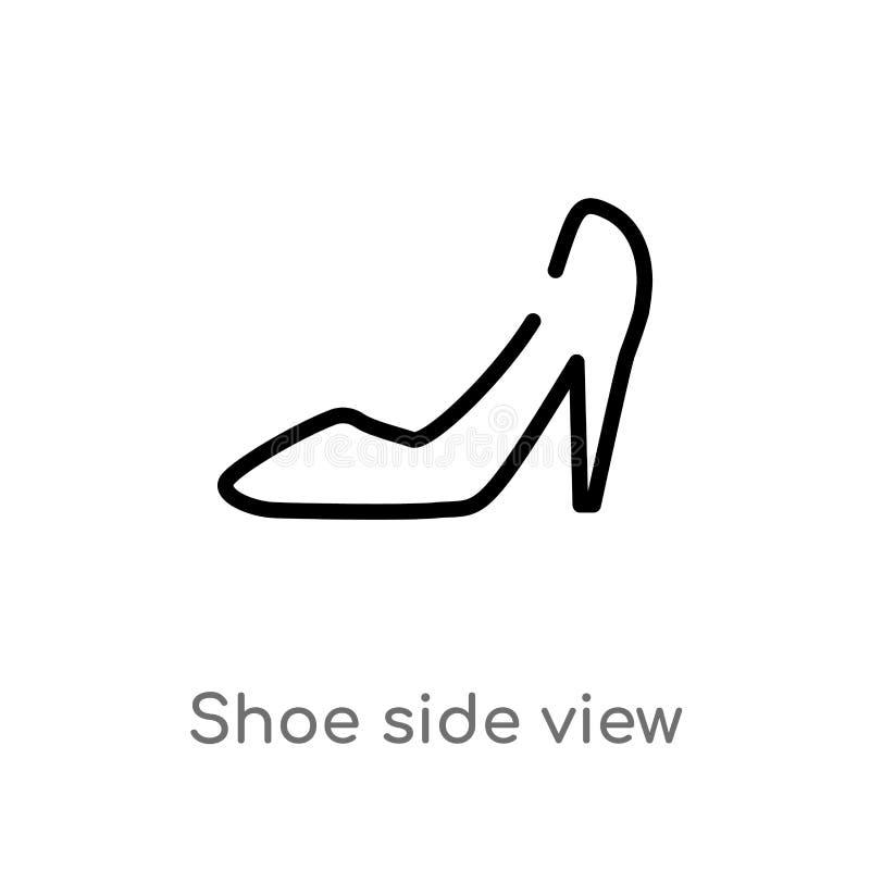 значок вектора взгляда со стороны ботинка плана изолированная черная простая линия иллюстрация элемента от концепции моды Editabl бесплатная иллюстрация