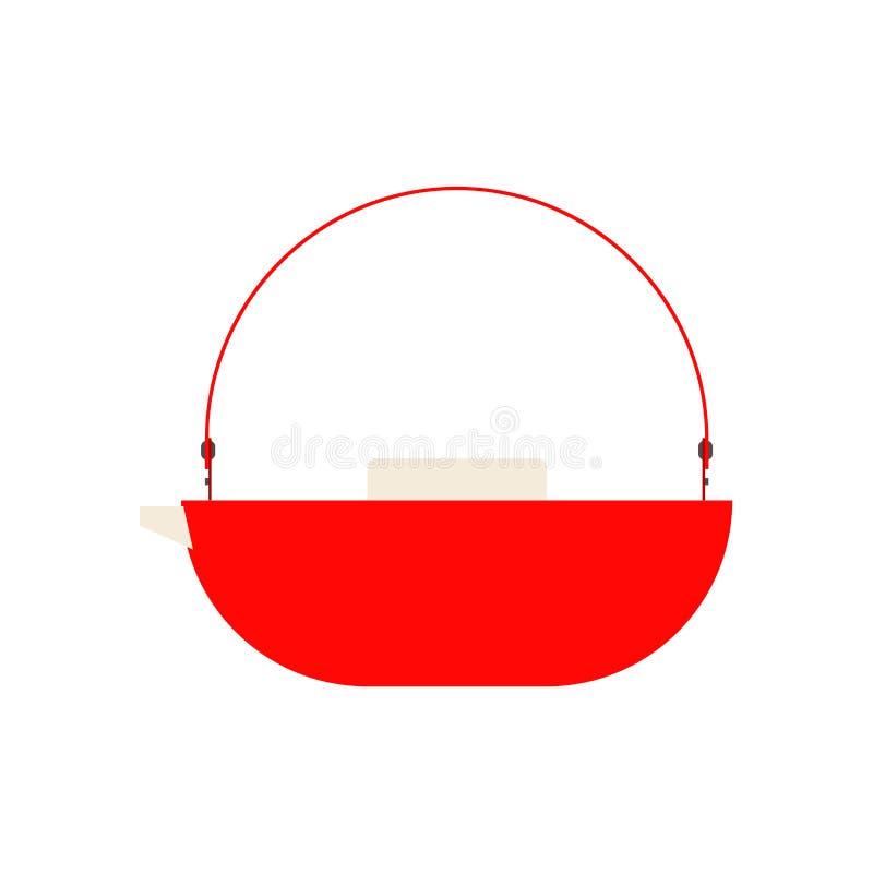 Значок вектора взгляда со стороны чайника красный Традиционное искусство чая символа Бак чайника kitchenware ручки декоративный п бесплатная иллюстрация