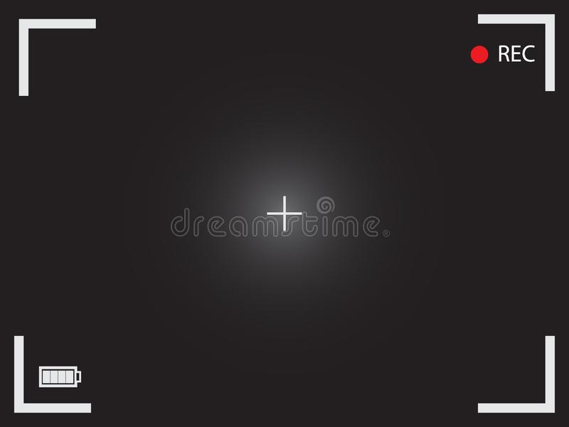 Значок вектора видоискателя Черный пустой экран камеры с кинематографическим иллюстрация штока