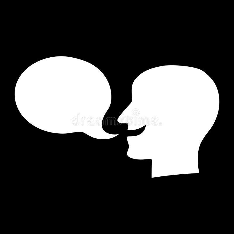 Значок вектора воздушного шара речи персоны силуэта говоря иллюстрация вектора