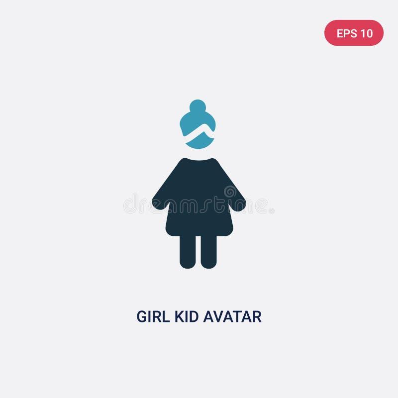 Значок вектора воплощения ребенк девушки 2 цветов от концепции людей изолированный голубой символ знака вектора воплощения ребенк иллюстрация вектора