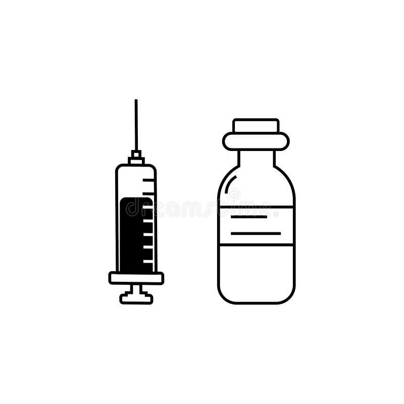 Значок вектора впрыски, доза лекарства иллюстрация вектора