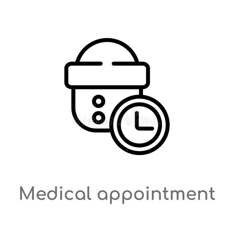 значок вектора встречи плана медицинский изолированная черная простая линия иллюстрация элемента от концепции дантиста Editable в иллюстрация штока