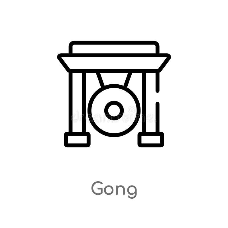 значок вектора гонга плана изолированная черная простая линия иллюстрация элемента от азиатской концепции editable значок гонга х бесплатная иллюстрация