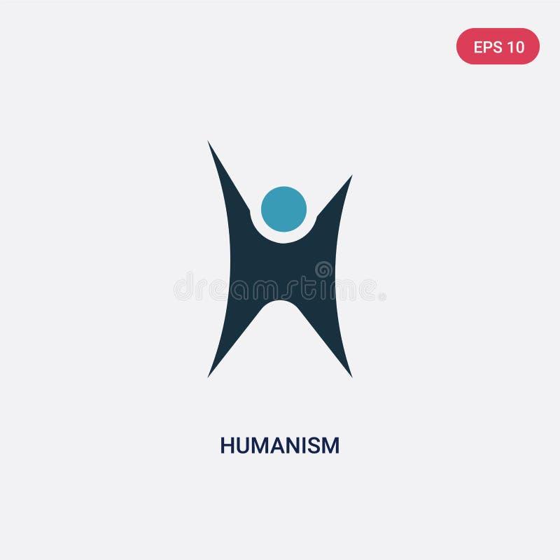 Значок вектора Гуманизма 2 цветов от концепции вероисповедания изолированный голубой символ знака вектора Гуманизма может быть по иллюстрация вектора
