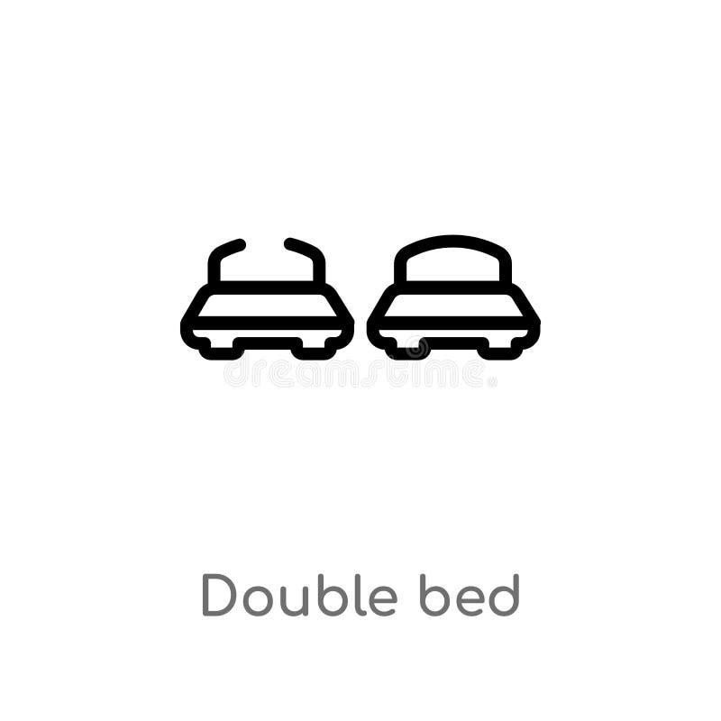 значок вектора двуспальной кровати плана изолированная черная простая линия иллюстрация элемента от концепции размещещния Editabl иллюстрация штока