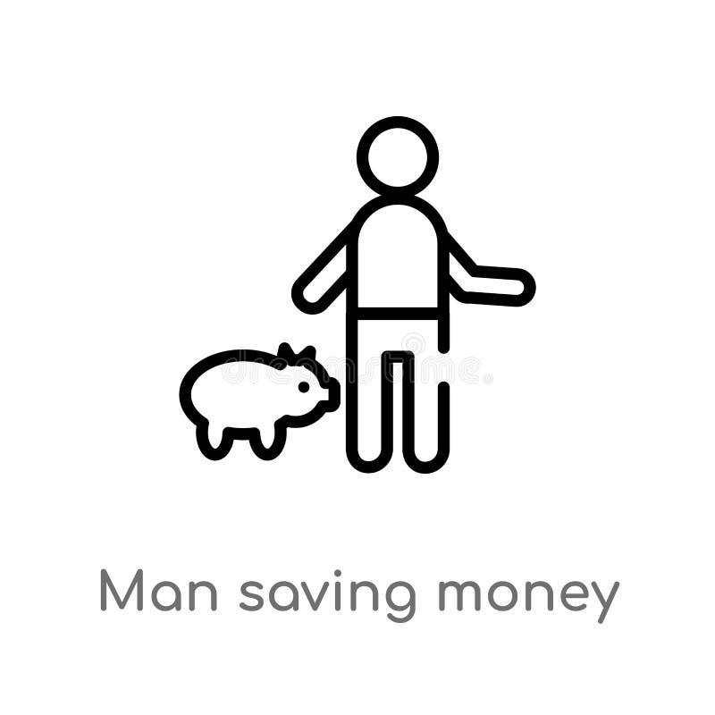 значок вектора денег человека плана сохраняя изолированная черная простая линия иллюстрация элемента от концепции людей Editable  иллюстрация вектора