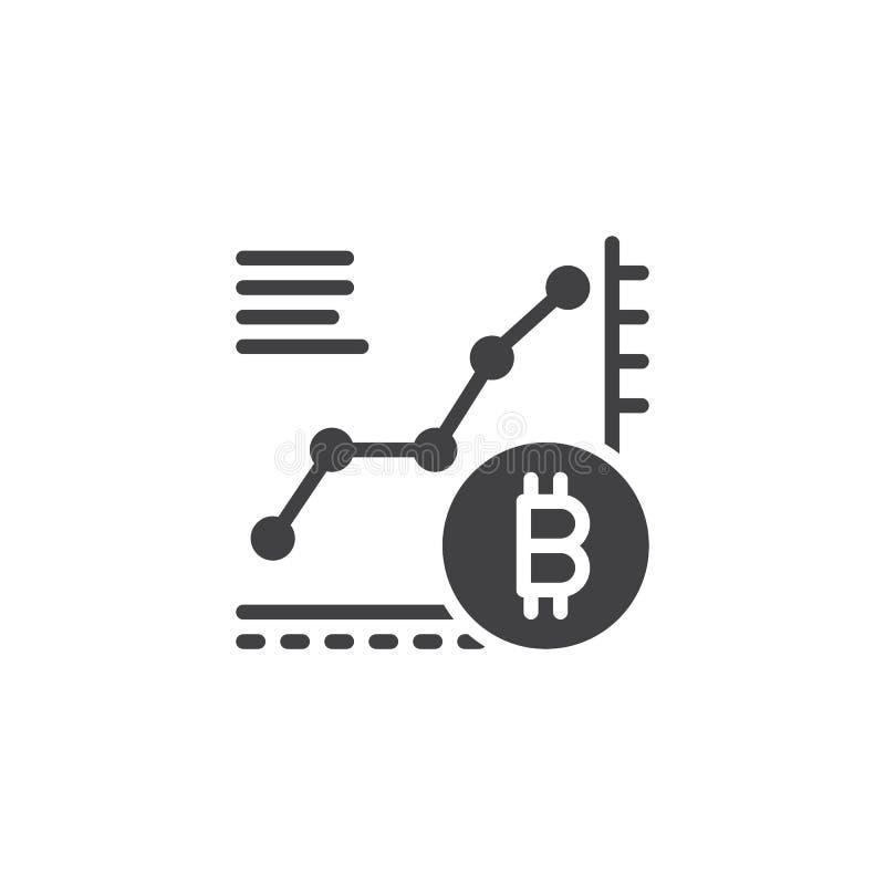 Значок вектора диаграммы роста Bitcoin иллюстрация вектора