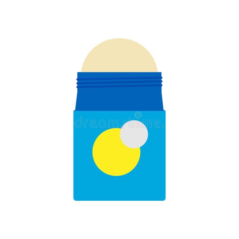 Значок вектора дизайна здоровья обработки иллюстрации дезодоранта Бутылка крена запаха и пота Сливк потоотделения продукта космет иллюстрация вектора