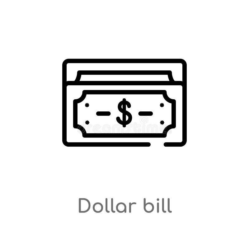 значок вектора долларовой банкноты плана изолированная черная простая линия иллюстрация элемента от концепции электронной коммерц бесплатная иллюстрация
